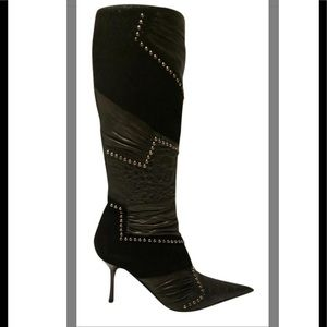 Black knee high embellished pointy toe boots -8